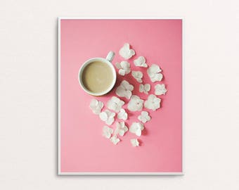 Printable Pink background Coffee and flowers poster | Printable Coffee Poster