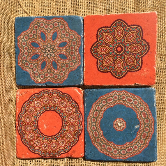 Tuile de travertin naturel Design marocain orange et bleu
