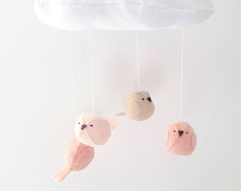 Baby mobile - nursery decoration - cloud and birds in peach and blush