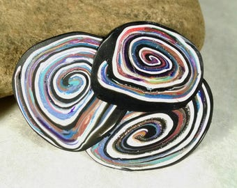 Psychedelic Brooch, Polymer Clay, Colorful Swirls, Eye-catching Brooch, Artisan Brooch, Polymer Clay Cane