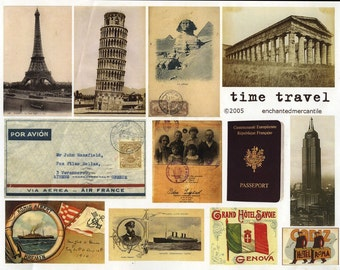 Collage Sheet -  Time Travel - Handmade Cards, Arts and Crafts, Decoupage