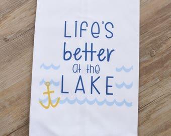 Life's Better at the Lake Flour Sack Kitchen Tea Towel, lake house decor