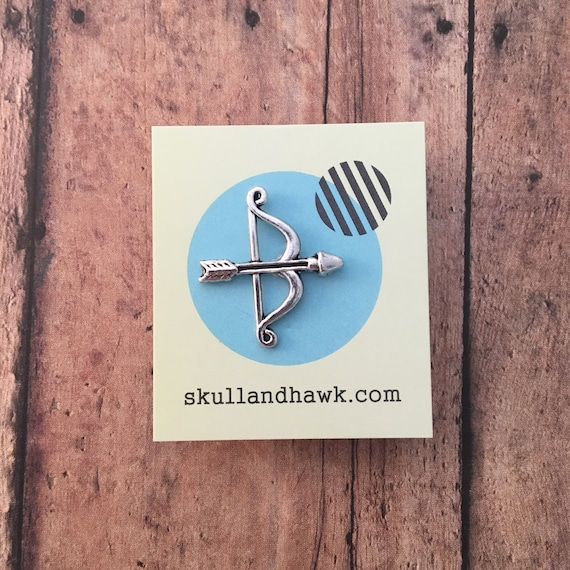 Bow And Arrow Lapel Pin / Tie Tack   Silver Tone   Men's Fashion   Suit Jacket Accessories   Archer  Archery Lover Gift   Sagittarius by Etsy