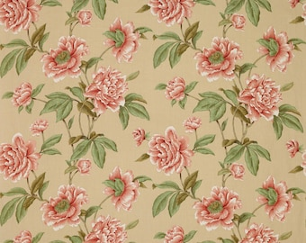 COLEFAX & FOWLER SHABBY Giselle Peonies Linen Fabric 10 Yards Red Green Beige
