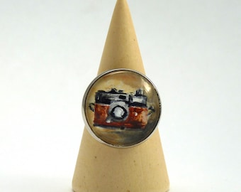Camera ring, original hand-painted ring, glass lens ring, landscape ring, Wear a painting!