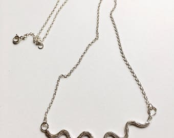 Hammered Silver Wiggle Necklace