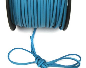 Blue 3 mm leather cord / 1 mm X 1 meter