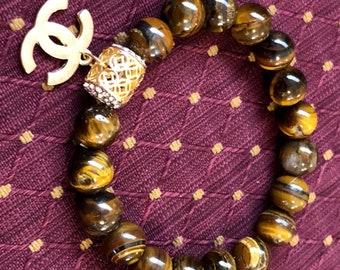 Gold tigereye Gemstones Beaded Bracelet,gold bead charm bracelet ,charm bracelet
