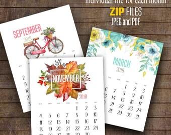 "2018 Printable Calendar, wall calendar, Printable Monthly Calendar, 8"" x 10"" each file ~ C110"