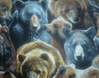 Black bear & grizzly bear all-over fabric.