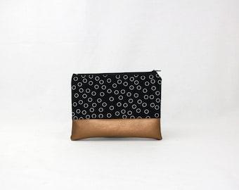 MIDI bag - copper black of bubbles, bag, cosmetic bag, purse, make-up bag, vegan, minimalist, pouch, pencil case,.