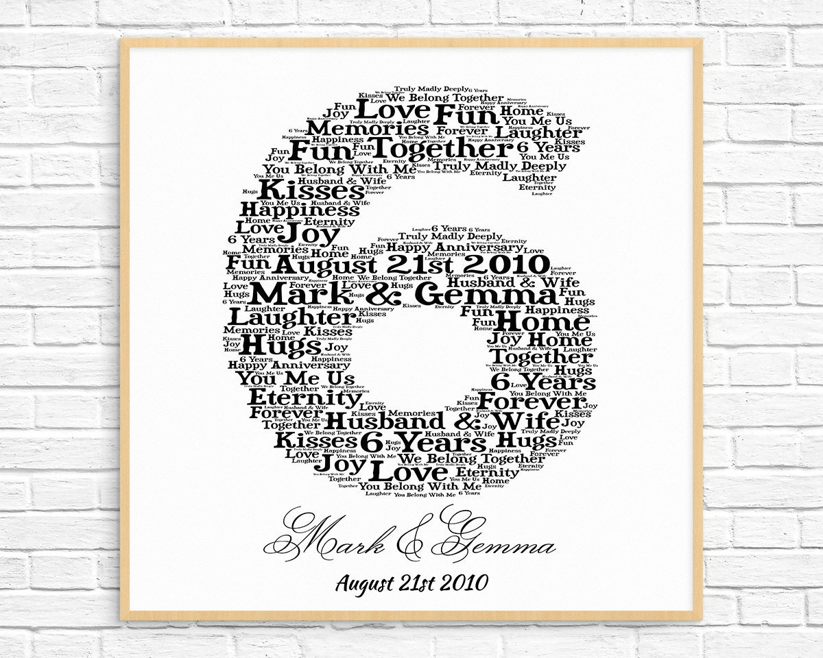 Six Year Wedding Anniversary Gift Ideas: PERSONALIZED 6th ANNIVERSARY Gift Word Art Printable Art