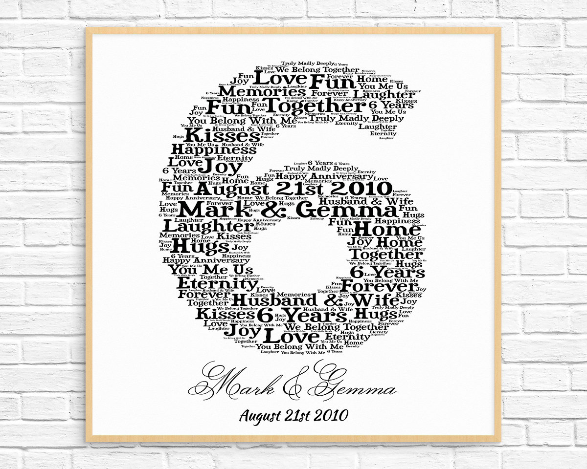 Wedding Anniversary Gifts 6 Years: PERSONALIZED 6th ANNIVERSARY Gift Word Art Printable Art