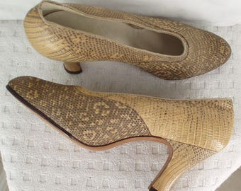 Lizard Skin c1920's Leather Shoes Fawn Grey Size 5 UK .  Flapper Fashion .