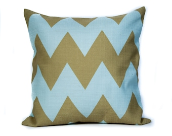 Blue and Green Chevron Pillow Cover. 14x14 Pilllow Cover. Decorative Pillow Cases. Pillows for Couch. Custom Pillows. Colorful Pillows