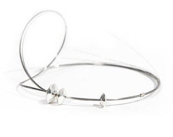 Bracelet/ring - Sterling silver, stainless steel wires - One of a kind.