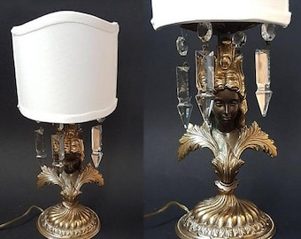 SALE Rare Antique Figural Table Lamp French Bronze and Crystal Table Lamp ,Empire Style Bronze Table Lamp,Bronze Boudoir lamp