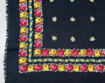 Vintage rayon scarf 30 x 30 - vivid floral on black - 40s-50s