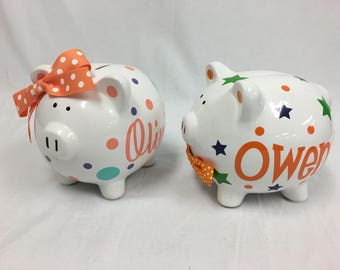 Personalized ceramic Piggy Bank with name, flowers and polka dots - baby shower gift, children
