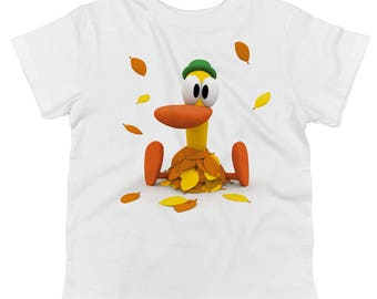 Pato Playing In Leaves Toddler 100% Cotton T-shirt