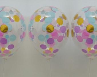 Unicorn Confetti Balloon, Confetti Balloon, Unicorn Party, Pretty Unicorn Confetti Balloons, Set of 3 - 30cm Balloons.