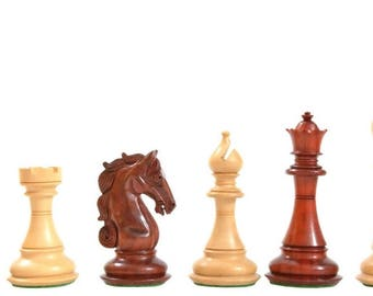 Triple Weighted Wooden Staunton Chess Set Bud Rose Wood 4 Queens. SKU: D0150
