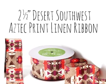"""2.5"""" Desert, Southwest, Mexican Aztec Print Ribbon, Black and Off White, Red, Coral, Orange, Packaging Supply, Bows, Gift Wrap, Craft Supply"""