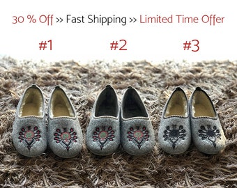 Last few items available! | Handmade Felted Slippers | Folk-Inspired Shoes for Women