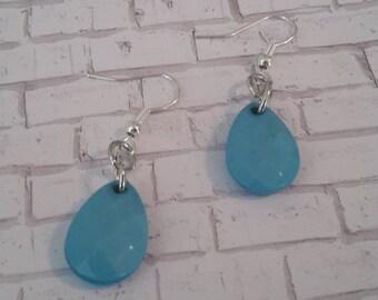 Light Blue Tear Drop Earrings