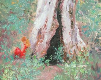 GUM TREE painting, Landscape oil Painting, Australian landscape impressionist Art, designer decor, wall art, Etsy Art, Jan Matson
