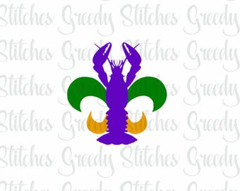Crawfish Fleur De Lis svg, dxf, fcm, eps, and png. Instant Download SVG, Mardi Gras SVG, Crawfish SVG, Fleur De Lis svg.