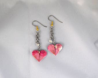 Origami heart swarovski crystal earrings