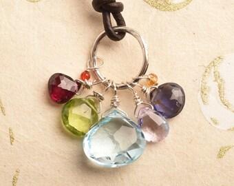 Chakra Gemstone Necklace, Blue Topaz Necklace, Leather Gemstone Necklace, Birthstone Necklace, Yoga Jewelry