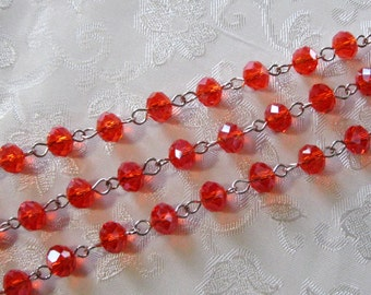 """One Meter 39.5"""" Faceted Red AB Rondelle Glass 6mm x 8mm Beaded Rosary Link Chain Silver 981"""