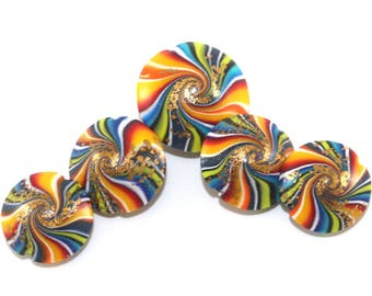 5 Elegant rainbow wave resin beads w gold glitter, handmade DIY jewelry making colorful swirl charms, ombre millefiori chic