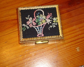 Utterly Charming Vintage Hand-Embroidered TAPESTRY Flower Basket COMPACT