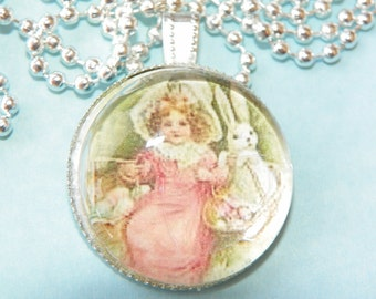 Vintage Easter Picture Necklace Easter Necklace Easter Pendant Easter jewelry Easter egg necklace Easter Bunny necklace Easter Rabbit neckla