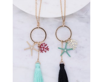 Star fish, coral and tassel charm necklace
