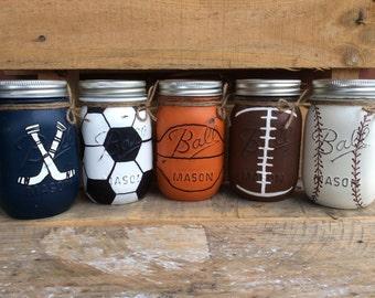Painted Mason Jars. Set of 3 Sports Jars. Home, bathroom, Party Decor.  Gift. Man Cave. Nursery Decor, Baby Shower.