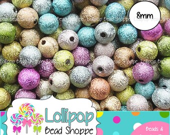 8mm Beads, Bead Mix, STARDUST Beads, Acrylic Beads, Spacer Beads, Colorful, Jewelry Making, Glitter Beads, Round Beads, Spacers, 25 or 50