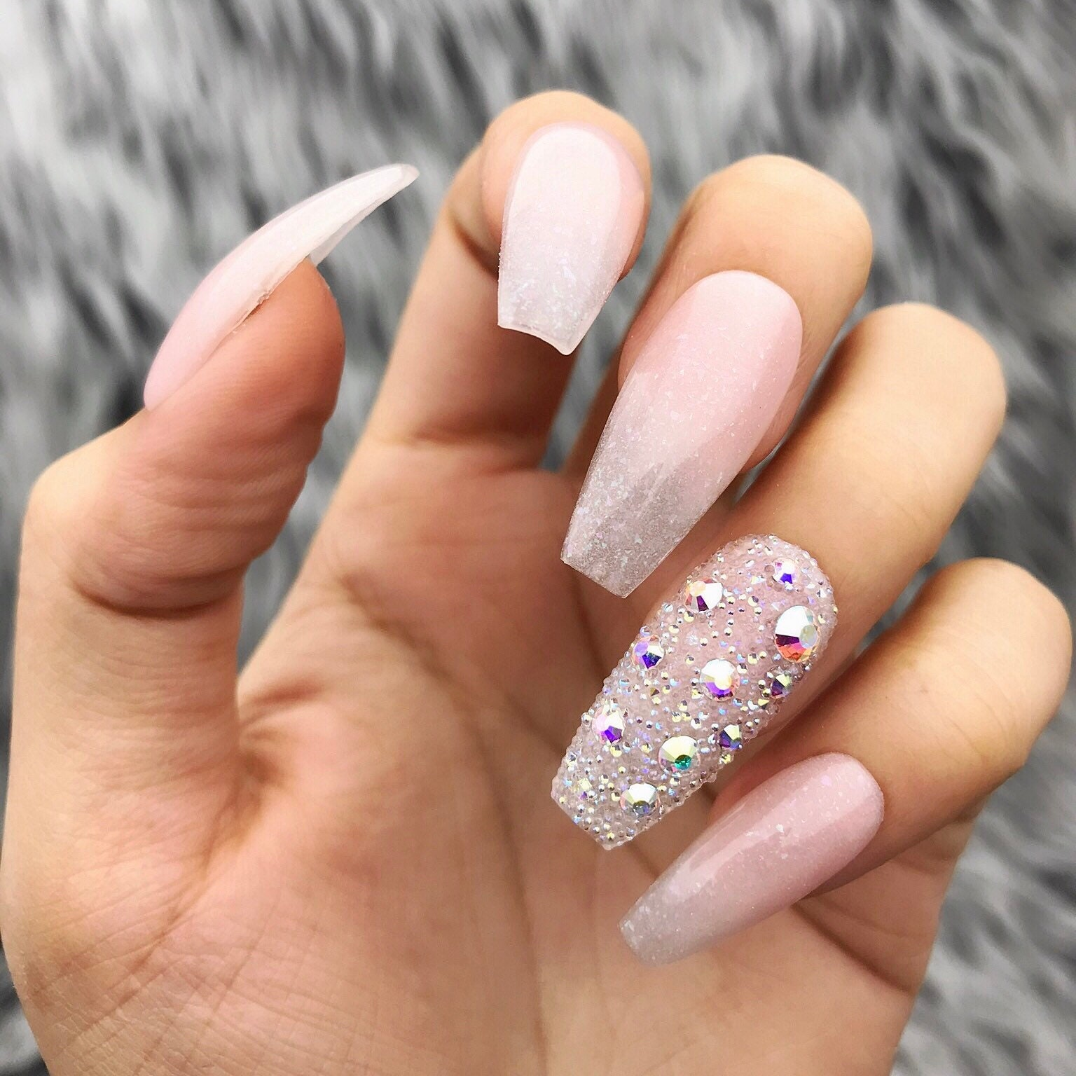 Acrylic Pink White Shimmer Ombre Swarovski Pixi Press On Nails ...