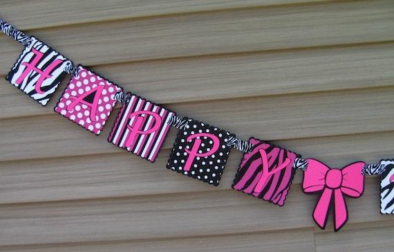 Zebra Birthday Banner in hot pink/black