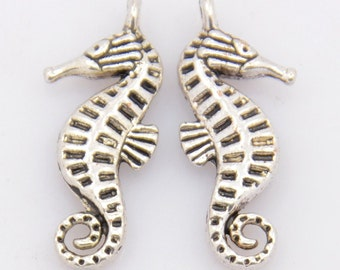 4 Antiqued Tibetan Silver Sea Horse Charms