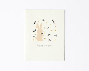 Happy New Year Bunny Card, Happy New Year Card, Happy New Year's Card, Bunny New Year Card, Card for New Year, Card for New Year's