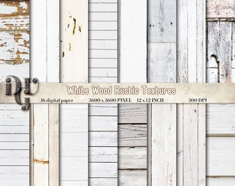 WHITE WOOD digital paper with rustic white wood texture, 16 wood papers, wood scrapbook paper, white rustic wood distressed wood grain #135