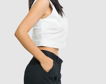 Linen Top/ linen blouse/ White linen top/ loose linen blouse/ linen top women/ nude back linen blouse