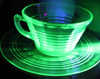 4 available ART DECO ribbed vintage Vaseline Glass Tea Cup and Saucer - Uranium Glass, Coffee cup and saucer