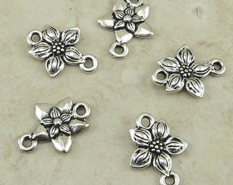 TierraCast Star Jasmine Flower Link - Silver Plated Lead Free Pewter - I ship Internationally