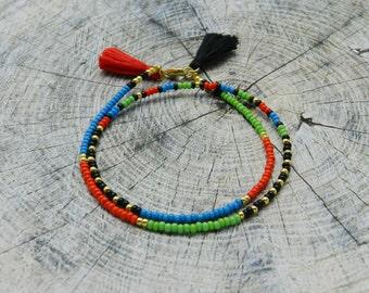 Seed bead Friendshipbracelet Tassel Beaded bracelet Boho Jewelry Сolourful Wrap Bracelet green blue red black Best Friend Gift for her thin