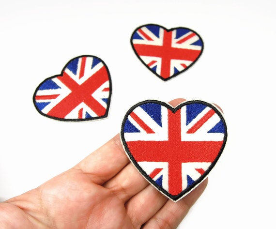 Union Jack Heart Iron On Patch - UK Flag applique - British flag iron on flag -  Heart Union Jack - UK Flag transfer patch